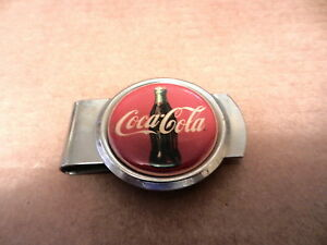 COCA-COLA W/BOTTLE LOGO MONEY CLIP, NEW,  CENTER 1 1/2