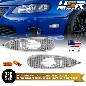 Crystal Euro Clear Front Bumper Side Marker Light Pair For 2004 2006 Pontiac Gto