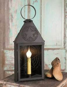 Country New Rustic Brown Half Round Punched Tin Star Lantern Light Nice