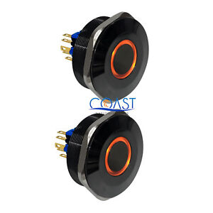2x Durable 12v 40mm Black Car Push Latching Button Amber Angel Eye Led Switch