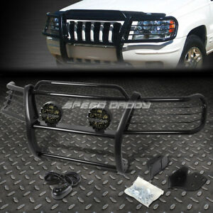 Black Brush Grill Guard Round Smoke Fog Light For 99 04 Jeep Grand Cherokee Wj