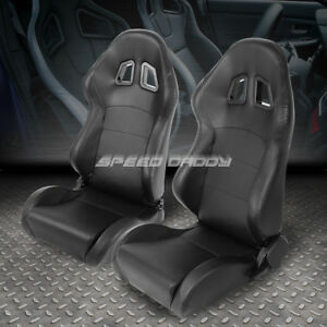 2 X Pvc Leather Black Universal Full Reclinable Glossy Sports Style Racing Seat