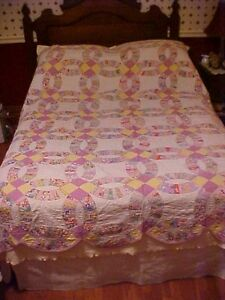 Vintage Pieced Quilt Double Wedding Rings Lotsa Purple And Yellow