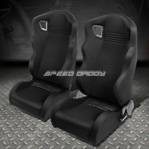 Black Woven Wide Headrest Reclinable Sport Adjuster Racing Seat Driver passenger