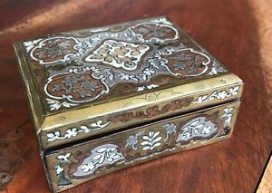 Victorian French Mother Of Pearl Ladies Inlay Brass Trim Hinged Box 1860 70 S