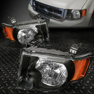 For 2008 2012 Ford Escape Suv Pair Black Housing Amber Side Headlight Lamp Set