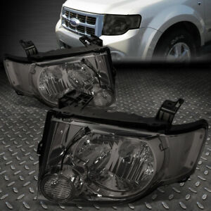 For 08 12 Ford Escape Smoked Housing Clear Corner Headlight Replacement Headlamp