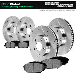 Front Rear Drilled Slotted Brake Rotors And 8 Metallic Pads