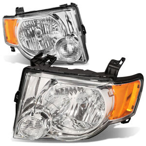 Fit 2008 2012 Ford Escape Suv Pair Chrome Housing Amber Side Headlight Lamp Set