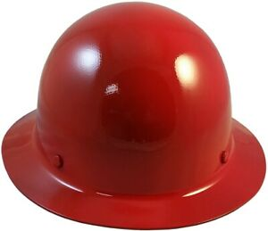 Msa Skullgard Full Brim Hard Hat With Fastrac Iii Ratchet Suspension Red