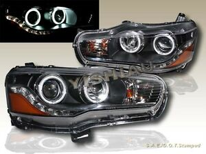 2008 2011 Mitsubishi Lancer Ccfl Dual Halo Led Projector Headlights Black