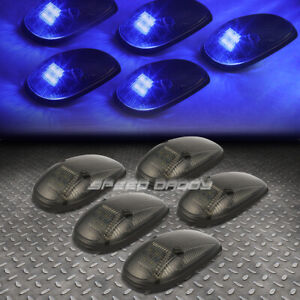 For 99 01 Dodge Ram Br Be 5pcs Smoked Housing Blue Led Cab Roof Running Light