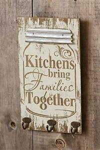 Country New Mason Jar Shaped Wood Wall Plaque W Hooks Kitchens
