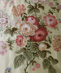 Antique Botanical Floral Chintz Fabric 1 Sage Lavender Pink Red Butter Cream