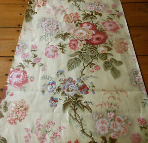 Antique Botanical Floral Chintz Fabric 2 Sage Lavender Pink Red Butter Cream