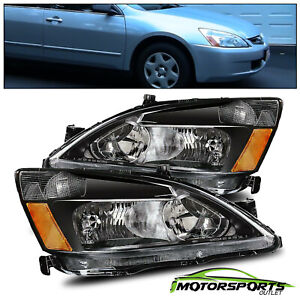 For 2003 2007 Honda Accord Factory Style Black Headlights Pair 2004 2005 2006