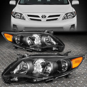 For 2011 2013 Toyota Corolla Pair Black Housing Amber Corner Headlight lamp Set