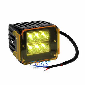 High Power 24w White 6 Cree Led Car Truck 3x3 Cube Spot Light W Amber Cover