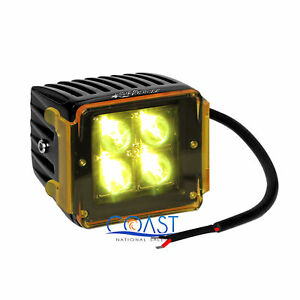 High Power 16w White 4 Cree Led Car Truck 3x3 Cube Spot Light W Amber Cover
