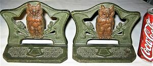Antique Art Nouveau Judd Mfg Co Wise Owl Bird Cast Iron Statue Bookends 9729