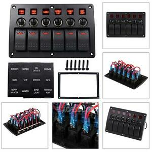 6 Gang Waterproof Car Auto Boat Marine Led Rocker Switch Panel Circuit Breakers