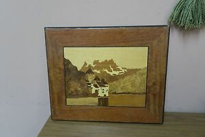 Vintage Inlaid Marquetry Wood Inlay Picture Castle Of Chillon Lake Geneva 13x16