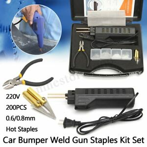Hot Stapler Car Bumper Fender Fairing Welding Gun Plastic Repair Kit 200 Staples