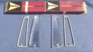 Nos Mopar 1963 1964 1965 Plymouth Belvedere Fury Savoy Back Up Lamp Lens Pair
