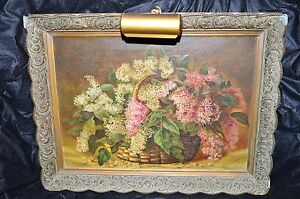 Antique Lilac Bouquet Basket Flower Oil Painting Signed Hvg 1891 Framed