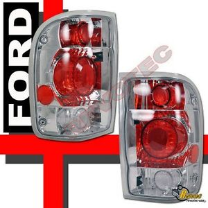 1998 2000 Ford Ranger Pickup Chrome Tail Lights Lamps 1 Pair