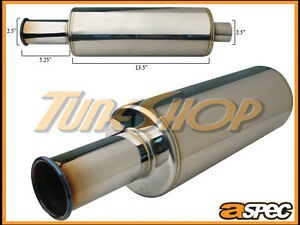 Aspec Itb 2 5 Burn Tip 2 5 Inlet Spoon Style Stainless Universal Muffler Jdm