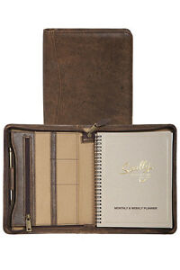 New Scully Aero Squadron Leather Zip Monthly Weekly Planner Agenda Walnut