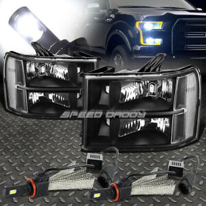 Black Housing Headlight Clear Corner 6000k White Led System For 07 14 Gmt 900