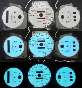 92 93 94 95 Honda Civic Dx At Automatic 140 Mph Cluster White Face Glow Gauges