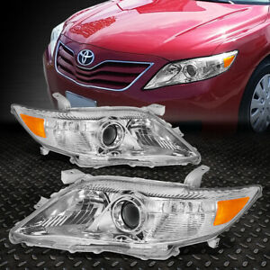 For 2010 2011 Toyota Camry Chrome Housing Amber Corner Projector Headlight Lamp