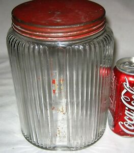 2 Antique Usa Art Deco Country Primitive Hoosier Storage Glass Jar Bottle Food