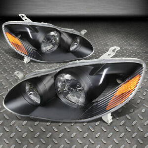 For 2003 2008 Toyota Corolla Pair Black Housing Amber Side Headlight lamp Set