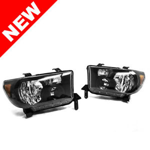 Black 2007 2013 Toyota Tundra 2008 2016 Sequoia Headlights Headlamps Left Right
