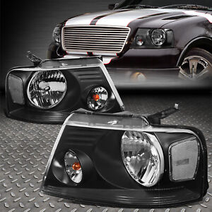 For 2004 2008 Ford F150 Pickup Pair Black Housing Clear Side Headlight lamp Set