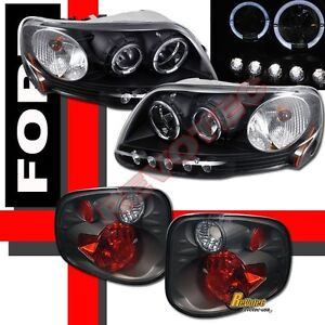 01 02 03 Ford F150 Pickup Svt Supercrew Halo Projector Headlights Tail Lights