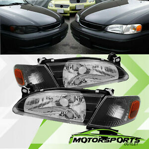 For 1998 1999 2000 Toyota Corolla Factory Style Black Headlights Corner Lamps