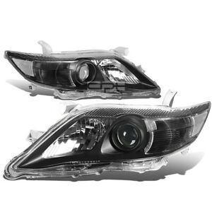 Fit 2010 2011 Toyota Camry Black Housing Clear Corner Projector Headlight Lamp