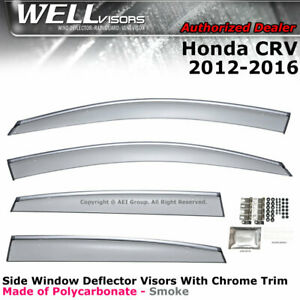 Wellvisors For Honda Crv 12 16 Side Clip On Window Visors Chrome