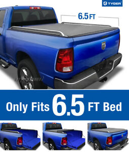 Tyger T2 Roll Up Low Profile Tonneau Cover Fits 2009 2019 Dodge Ram 6 5 Bed