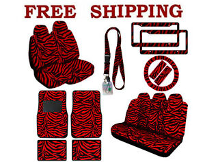 New Red Zebra Print Seat Covers Floor Mats License Plate Frames Interior Set
