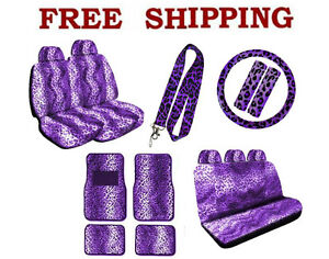 New Purple Leopard Print Seat Covers Steering Wheel Cover Floor Mats Set