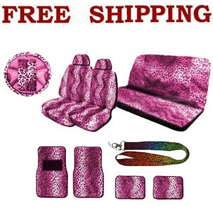 New Pink Leopard Print Seat Covers Floor Mat Steering Wheel Cover Interior Set