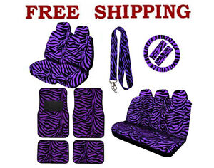 Brand New Purple Zebra Print Seat Cover Steering Wheel Cover Floor Mats Set