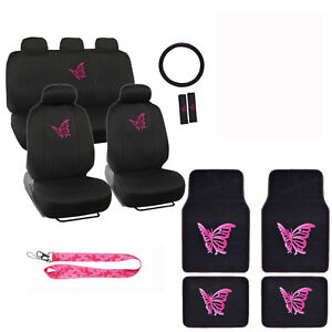New Set Hot Pink Butterfly Car Front Rear Seat Covers Floor Mats
