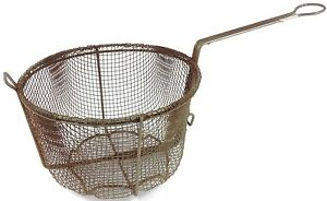 Vintage Antique Large Deep Wire Frying Basket Rusty Primitive Rustic